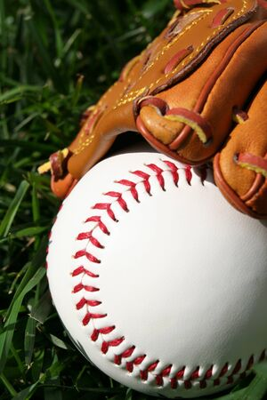 A baseball glove with a baseball Stock Photo - 13139965