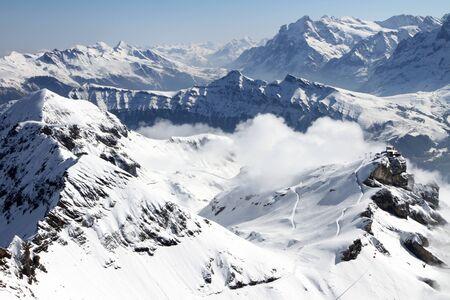 snow covered mountain: Snow Covered Mountains In Switzerland Used For Skiing