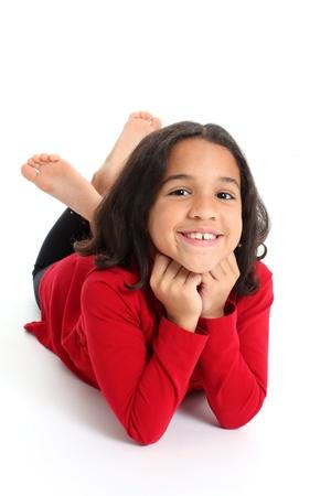Jong Meisje Poseren Tegen Een Witte Achtergrond
