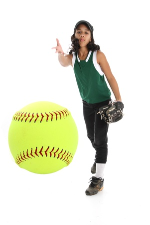 little league: Playing the game of softball with a white background Stock Photo