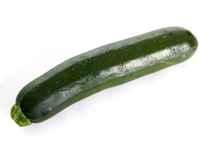 Close up of One Zucchini Squash on White Background photo
