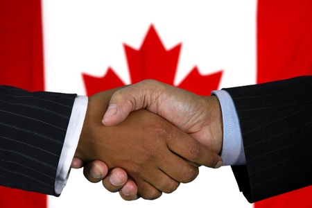 Business team shaking hands in front of the flag