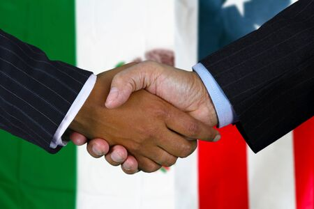 international business agreement: Business team shaking hands in front of the flag