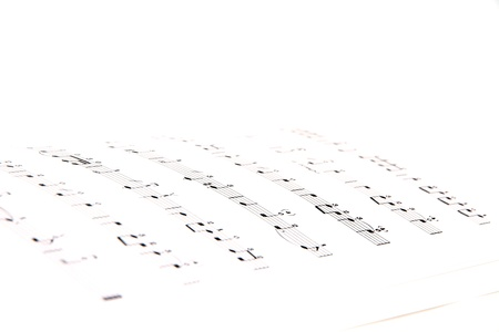 white sheet: Sheet Music Isolated on a White Background
