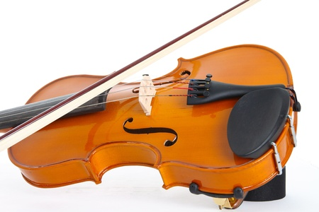 Single Violin and Bow on a White Background Banco de Imagens