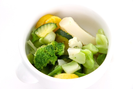 food pyramid: Bowl of Mixed Vegetables on a White Background