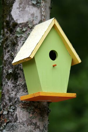 A green birdhouse attached to a tree Stock Photo