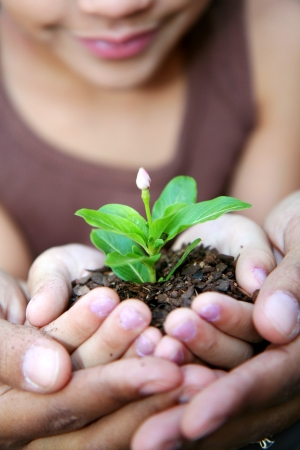 plants growing: Girl with her mother holding a new flower Stock Photo