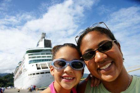 Family on Cruise Ship Stock Photo