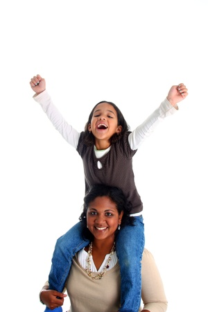Minority woman and her daughter on white background Stock Photo - 13163985