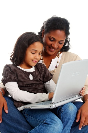 kids laptop: Minority woman and her daughter on white background