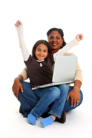 Minority woman and her daughter on white background Stock Photo - 13164185