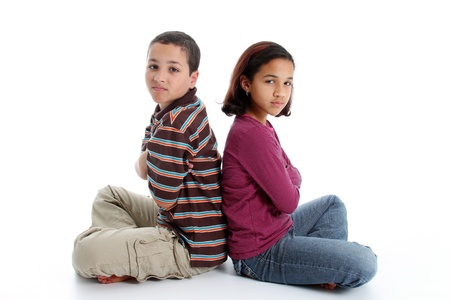 brother sister fight: Picture of upset children set on white background