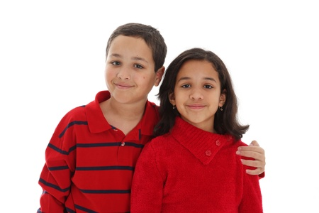Girl and Boy together against a white background photo