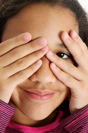peek a boo: Picture of a child set on white background