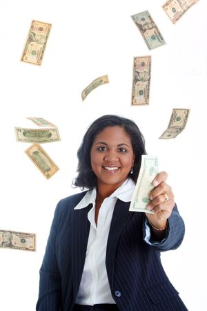 payday: Business woman surrounded by falling money holding a bill