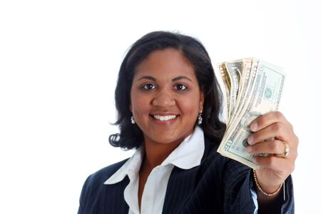 woman holding money: Business woman holding a stack of money