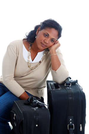 Woman with her suitcases ready to travel Stock Photo - 13164538