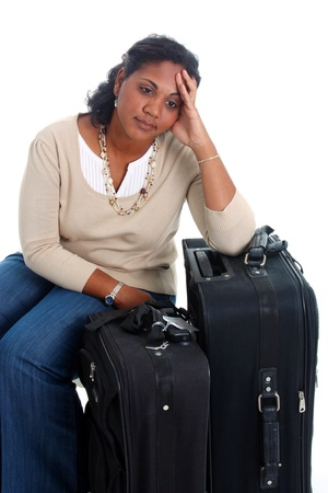 minority: Woman with her suitcases ready to travel Stock Photo