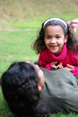 A mixed race mother and daughter photo
