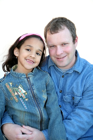 Father with Daughter outside with jackets in winter Stock Photo - 13597938
