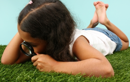 Girl Looking Through Magnifying Glass At Bugs Standard-Bild
