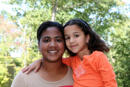 multiple family: A mixed race mother and daughter