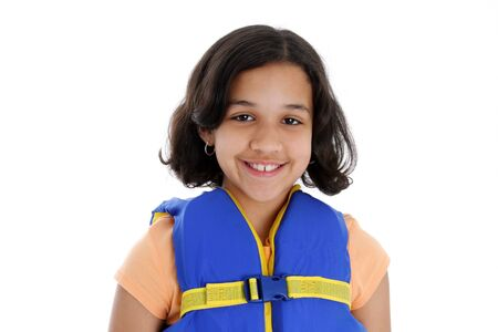 Young girl wearing a life jacket with white background photo