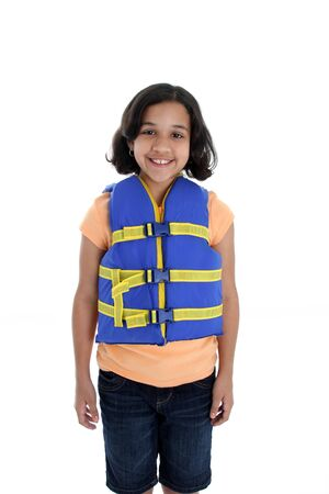 Young girl with life jacket on a white background photo