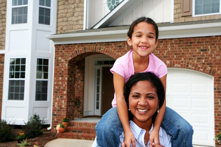 american house: A mixed race mother and daughter