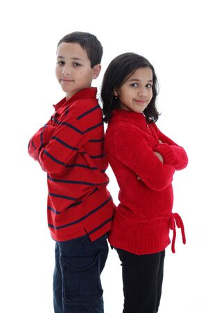 Girl and Boy together against a white background Banco de Imagens