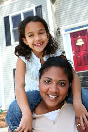 A mixed race mother and daughter