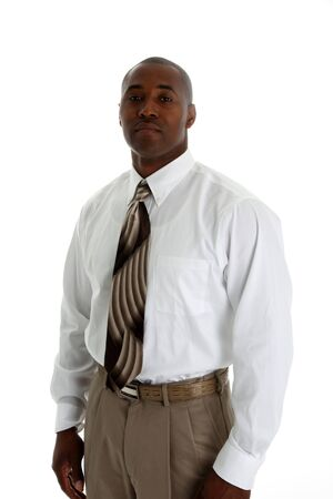 African american business man on a white background photo