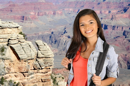 grand canyon national park: Hiking through the Grand Canyon National Park Stock Photo