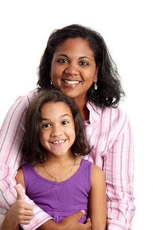 minority: Portrait of a minority woman with daughter on white background