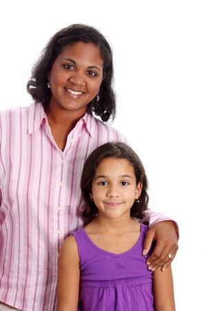 Portrait of a minority woman with daughter on white background