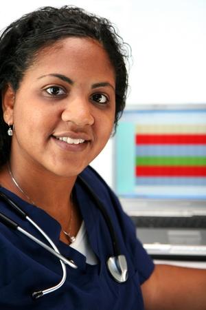 black nurse: Minority nurse set on white background Stock Photo