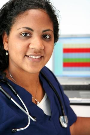 Minority nurse set on white background photo