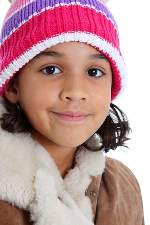 minority: Young Girl Posing Against A White Background