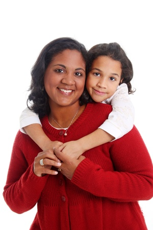 Minority woman and her daughter on white background Stock Photo - 13297866