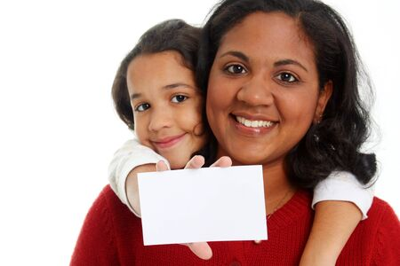 Minority woman and her daughter on white background Stock Photo - 13301669