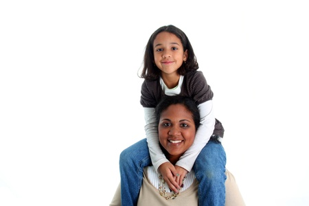 minority: Minority woman and her daughter on white background