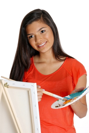 painting: Teen painting a canvas on white background
