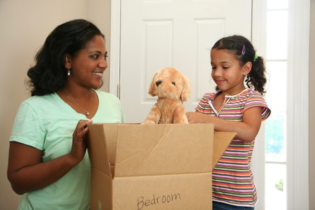 packing supplies: Family moving into a new home