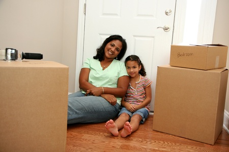 home office interior: Family moving into a new home