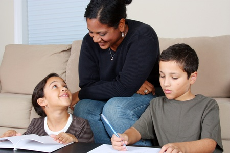 Minority woman and her children photo