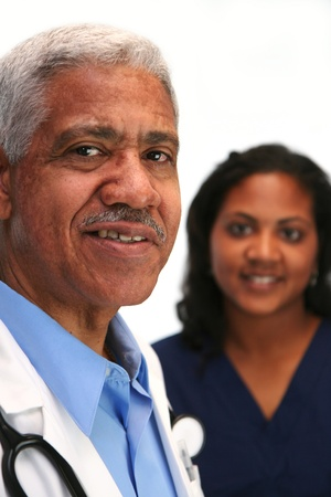 black nurse: Minority doctor set on white background