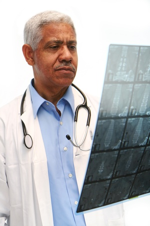 health care worker: Minority doctor set on white background