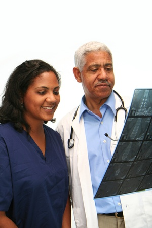 mature mexican: Minority doctor set on white background