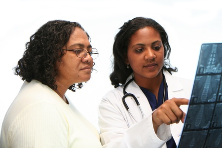 Minority doctor set on white background